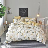 Bedding Sets Pineapple Bedsheet Pillowcase Duvet Cover 100% Cotton Linens Twin Double Queen Set King Size