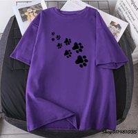 Кошка ноги печатает женщина футболки Summe Свободные женские O-образным вырезом с коротким рукавом TEES 2021 одежда Полиэстер высокое качество Ретро Камиссетас женский T-Shi