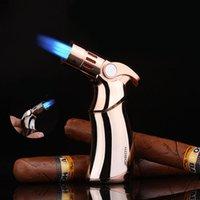 Neuer Jobon Leistungsstarker Triple Feuerzeug Turbo Butan Grill Feuerzeug Winddichter Zigarrenmetallpistole Feuerzeug Gadget