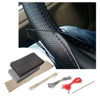 Steering Wheel Covers Car Cover Ultrafine Fiber Leather Hand Sewing DIY Steering-wheel For Focus 2 3 Kia Smart