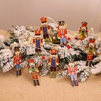 3pcs 나무 호두 까 꾼 군인 크리스마스 장식 펜 던 트 장식품 크리스마스 트리 파티 새해 장식 아이 인형