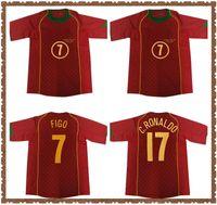 Rétro Rui Costa Ronaldo Soccer Jersey 2004 2005 Chemise de football classique Vintage Camisa de Futebol 04 05 # 7 Figo # 17 C.ronaldo Gomes Paulétae Petit Red