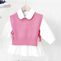 Spring Autumn Baby Girls Clothing Sets Sweet Candy Color Knitting Sweater Vest Shirts Set Children Korean Blouse Waistcoat Outfits