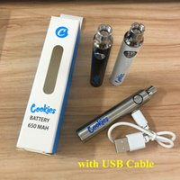 510 쿠키 vapes 배터리 Dabwoods 배터리 650mAh vape 펜 조정 가능한 가변 전압 510 스레드 배터리 USB 충전기로 예열 카트리지 포장