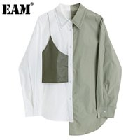 Frauen Blusen Hemden [EAM] Frauen PU-Leder Unregelmäßigen Grün Große Größe Bluse Revers Langarm Lose Fit Hemd Mode Frühling Herbst 2021