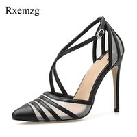 Dress Shoes Rxemzg Sexy Shallow High Heel Pumps Women Pointed Toe Summer Sandals Fashion Cross-tied Buckle Strap Wedding Gold