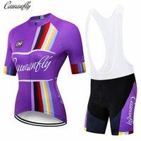 ركوب الدراجات جيرسي مجموعات اكسين المرأة زوجين قصيرة الأكمام الصيف الملابس الدراجة 2021 برو فريق الأرجواني