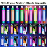 100 % 오리지널 AIM FIRE 1000PUFFS 일회용 전자 담배 Luminous Edition 내장 650mAh 배터리 4ml 프리불 릴리즈 카트리지