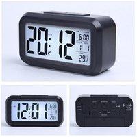스마트 센서 야간광 디지털 알람 시계 온도 온도계 캘린더 자동 책상 테이블 시계 침대 옆 여긴 웨이크 업 LLB11190