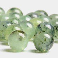 Doğal Yeşil Kristal Pürüzsüz Yuvarlak Yeşil Gevşek Boncuk Takı Yapımı Için Bilezik Kolye Prehnites Kuvars Boncuk