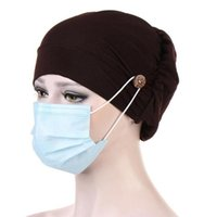 Beanies Women Turban Hat With Buttons Solid Color Face Holder Wearing Protect Ears Head Wrap Stretch Cancer Chemo Cap #P1
