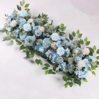 New Decorative Flowers 100CM DIY Wedding Flower Wall Arrangement Supplies Silk Peonies Rose Artificial Row Decor Iron Arch Backdrop FY2991