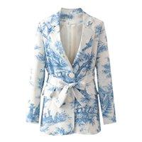 Fandy Lokar Casual Printed Blazers Women Fashion Single Breasted Jackets Elegant Tie Belt Waist Suits Female Ladies GAA Women's &