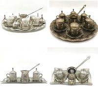 Плющ узорчатая кофейной чашкой набор для 2 и 6 человек с горшком, турецкий арабский греческий кофе, украшенные 90 мл подарочные чашки