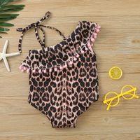 Toddler Kids Swimwear Baby Girls Leopard Tassels Asymmetrical Neck Bandage Bikini Swimming Beach Swimsuit One-Pieces