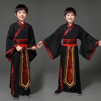 Stage Wear Children's Performance Outfit Black Boys Ancient Costume Hanfu Kids Satin Chinese Robe Traditional Dress