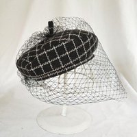 Berets 2021 Latest Womens British Style Veil Hat Black And White Grid Tweed Flat Caps Designer Luxury Woman Lace
