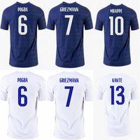 2021 # 10 MBappe 축구 유니폼 프랑스 # 6 Pogba Lemar Shirt Mens # 7 Griezmann # 13 Kante Varane 축구 유니폼