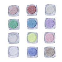 Nail Glitter 12Jars Set Crystal Diamond Powder-Rainbow Color Fine Flash Sugar Powder Sea Salt Super (2-3g Jar)