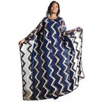 Morceaux Set Robes africaines pour femmes Dashiki Streetwear Bazin Riche Batwing Sleeve Peaune Multicolore Robe longue Maxi Casual
