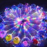 DIY LED Novidade Iluminação de Bobo Balões com Rose Bouquet Casamento Luz Transparente Bola De Bola De Brilho Bolha Balão Balão Luzes Para Presentes Decoração Do Partido Do Dia dos Namorados