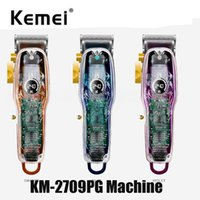 Kemei KM-2709Pg Professional Electric Hair Clipper Rechargeable USB Charger Trimmer Men Cordless Haircut Machine 2709 PG Colorful Transparent