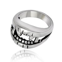 Cluster Rings Biker Ring Jewelry Gift 2021 Men Stainless Steel Steampunk Unique Gothic Satanic Demon Exaggeration Skull Black