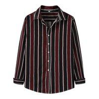 Men's Casual Shirts 2021 Plus Size Clothing Spring Autumn Korean Loose Striped Print Dress Shirt Office Long Sleeve Men