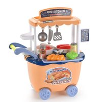 Mini Kitchen Cart Trolley Food Set Toys Pretend Play House Simulation Vegetables Utensils Baby Educational Cooking Assembly Girl Toy