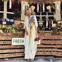 Boho Parrot Printed Bikini Cover-ups White Chiffon Tunic Plus Size Long Kimono Women Beach Wear Swim Suit Cover Up A875 210714