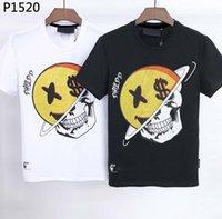 Männer T-shirt Frühlings- und Sommerjacken High Grad Baumwolldruck Kurzarm Rundhals Panel Luxus T-Shirt Größe: M-3XL Frauen Schädel C145