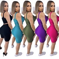 Hot selling product 2021 fashion leisure Two-piece sets women sports suit sleeveless vest shorts fitness Yoga Pants summer gym set