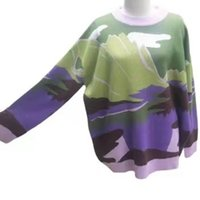 Women's fashion Harajuku style color blocking loose Pullover Sweater trend
