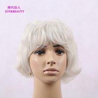 Joybeauty Saç Sentetik Gümüş Beyaz Kısa Kıvırcık Peruk Kadınlar için Yüksek Sıcaklık Fiber Peruk 9 inç1