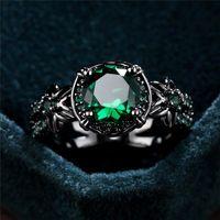 Femmina carino stella fiore verde rotondo zircone anello vintage oro nero anelli per le donne di lusso pietra di cristallo pietra femminile regali regali