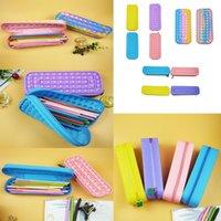 Fidget Toys Sensory Fashion School student pencil case Push Bubble Rainbow Anti Stress Educational Children And Adults Decompression Toy gift Surprise wholesale