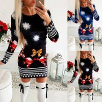 Casual Dresses Womens Christmas Mini Dress Style For Ladies Long Sleeve Xmas Jumper Tops Tall Waist Tight Sexy Female Robe