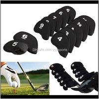 Cabezas 10 unids Cubiertas de club de hierro Putter Cabeza protectora Cubierta de cabeza Conjunto Conjunto Neopreno Black Sports Golf Accesorio 18GBJ LQNLC