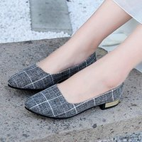 Sandals 38# Shoes Woman Ladies Flats Ballet Gingham Pointed Toe Loafers Casual Singles Canvas Female Zapatos De Mujer