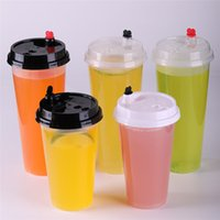 700ml 24 oz Disposable Plastic Cups Drinkware Cold Drinks Juice Coffee Milky Tea Cup Thicken Transparent Drink Tool With Lid