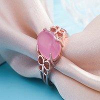 Libelle Rosa Kristall Solitaire Ring 925 Silber Rose Gold Überzogene Einstellbare Modevorschlag Schmuck Romantisches Geschenk