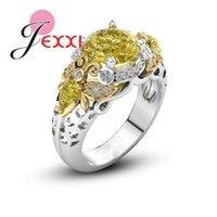 Cluster Rings Trendy Yellow Crystal Rhinestone Bee Chunky 925 Sterling Silver Lemon Stone Rock Hip Hop Jewelry Fine Bijoux