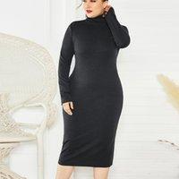 2021 New Spring Herf Long Mouw Sexy Coltrui Jersey Long Trui Wear a dress Bodycon Plus Size dress Women Elegant Sleeve