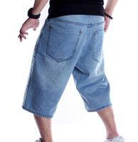 Men's Jeans Mens Plus Size Loose Baggy Denim Short Men Fashion Streetwear Hip Hop Long 3 4 Cargo Shorts Pocket Male Blue URP