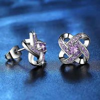 Hoop & Huggie Wholesale 6 Pairs Of Lucky Turn Inlaid Small Zircon Earrings Shiny Crystal Fashion Ladies Jewelry Gifts