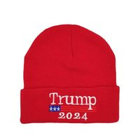 Donald Trump 2024 Hat Keep America Great Again Hat Cap Winter Knitted Wool Hats Unisex Embroidery Beanie Hat Fashion Hip Hop Hats DHL