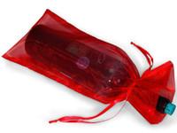 2021 200 sts Black Organza Presentväska Organza påse bröllop favores 14x35cm vinflaska väskor (eller mixa färger)