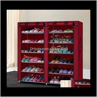 Держатели стойки 6ROW 2line 12 решетки нетканые ткани сочетание стиль стойки обувь хранения организатор обуви кабинета американских акций rak1 05m1r