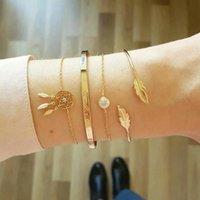Link, Chain HOCOLE 4 Pcs 2021 Vintage Gold Metal Bracelet Sets For Women Leaf Crystal Pendant Bangle Female Charm Gift