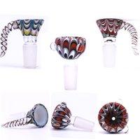 Pavão Impressão 14mm tigelas de vidro fumo masculino articulação punho bela corrediça tigela peça fumar acessórios